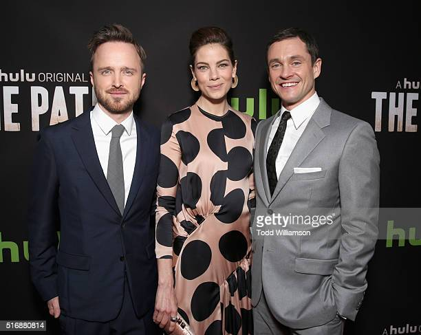 Actors Aaron Paul Michelle Monaghan and Hugh Dancy attend The Path Premiere Party at ArcLight Hollywood on March 21 2016 in Hollywood California