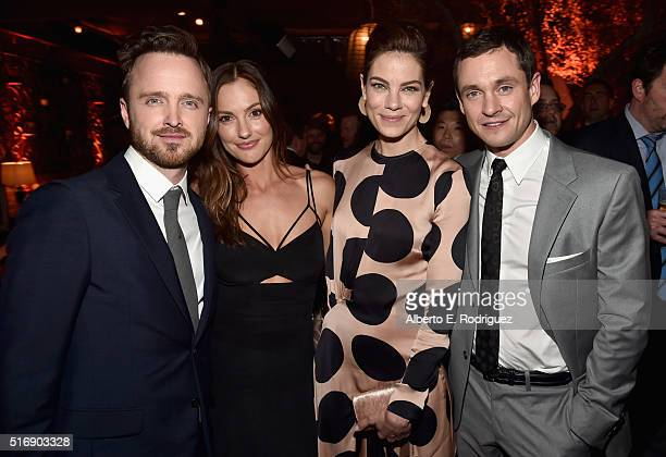 Actors Aaron Paul Minka Kelley Michelle Monaghan and Hugh Dancy attend the after party for the premiere of Hulu's 'The Path' at ArcLight Hollywood on...
