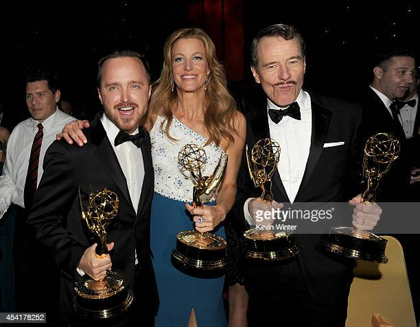 Actors Aaron Paul, winner of the award for Outstanding Supporting Actor in a Drama Series, Anna Gunn, winner of the award for Outstanding Supporting...