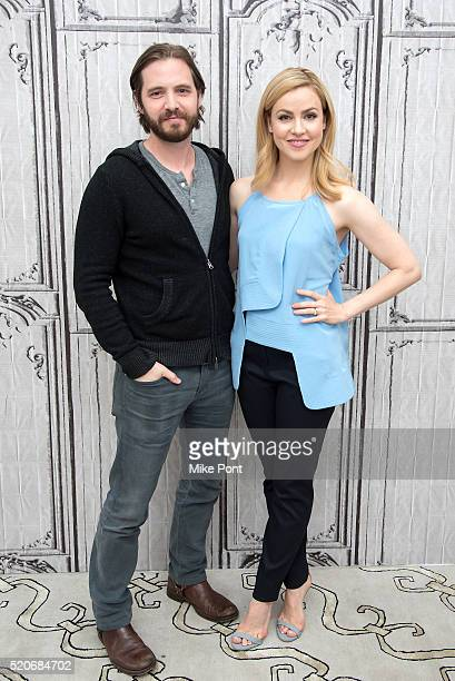 Actors Aaron Stanford and Amanda Schull attend the AOL Build Speaker Series to discuss '12 Monkeys' at AOL Studios In New York on April 12 2016 in...