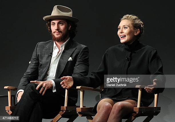 Actors Aaron Taylor Johnson and Elizabeth Olsen attend the Apple Store Soho Presents Meet The Actor Elizabeth Olsen And Aaron TaylorJohnson 'Age of...