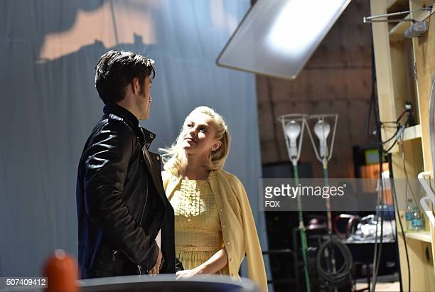 LIVE Actors Aaron Tveit as 'Danny Zuko' and Julianne Hough as 'Sandy' behind the scenes during the dress rehearsal for GREASE LIVE airing LIVE Sunday...