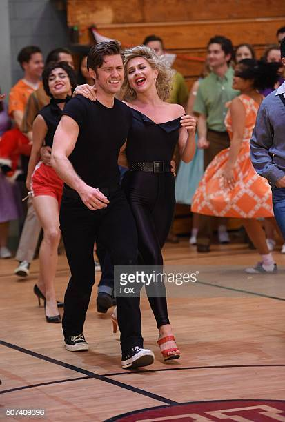 LIVE Actors Aaron Tveit as 'Danny Zuko' and Julianne Hough as 'Sandy' during the dress rehearsal for GREASE LIVE airing LIVE Sunday Jan 31 on FOX