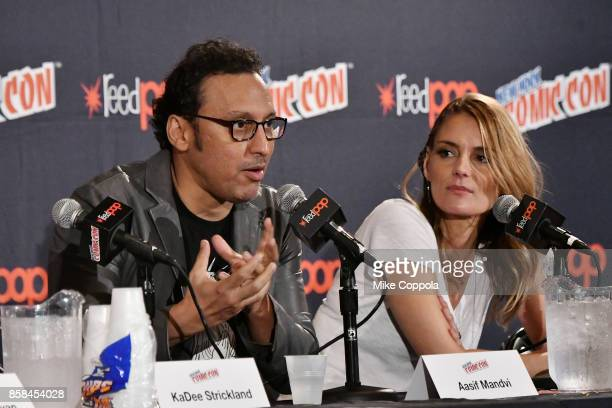 Actors Aasif Mandvi and Susan Misner participate in Hulu's Shut Eye panel at New York Comic Con at Jacob Javits Center on October 6, 2017 in New York...