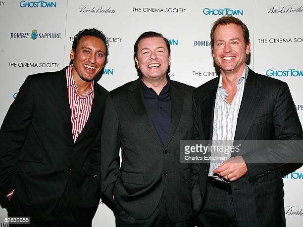 Actors Aasif Mandvi Greg Kinnear and Ricky Gervais arrive at the screening of Ghost Town hosted by The Cinema Society with Brooks Brothers and Bombay...