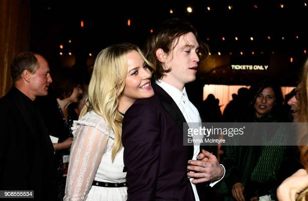 Actors Abbie Cornish and Caleb Landry Jones attend the 24th Annual Screen Actors Guild Awards at The Shrine Auditorium on January 21 2018 in Los...