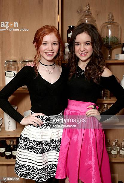 Actors Abby Donnelly and Aubrey Miller attend the second season premiere of Amazon Original Series 'Just Add Magic' at Au Fudge on January 14 2017 in...