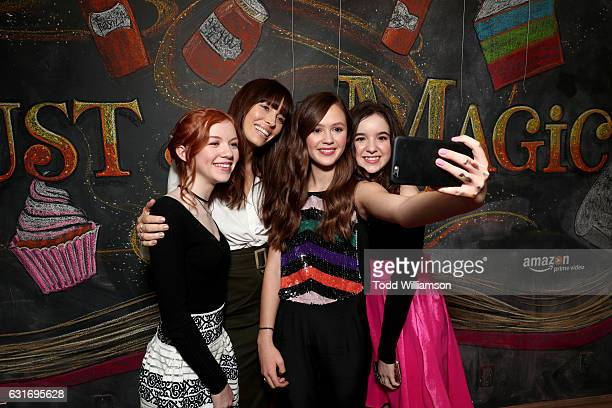 Actors Abby Donnelly Jessica Biel Olivia Sanabia and Aubrey Miller attend the second season premiere of Amazon Original Series 'Just Add Magic' at Au...