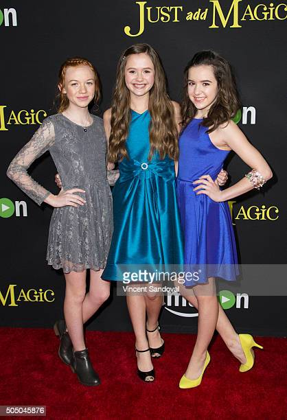 Actors Abby Donnelly Olivia Sanabia and Aubrey K Miller attend the premiere of Amazon's Just Add Magic at ArcLight Hollywood on January 14 2016 in...