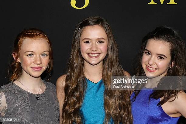 Actors Abby Donnelly Olivia Sanabia and Aubrey K Miller attends the premiere of Amazon's Just Add Magic at The ArcLight Hollywood on January 14 2016...