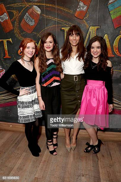 Actors Abby Donnelly Olivia Sanabia Jessica Biel and Aubrey Miller attend the second season premiere of Amazon Original Series 'Just Add Magic' at Au...