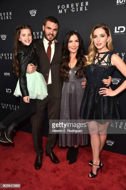 Actors Abby Ryder Fortson Alex Roe director Bethany Ashton Wolf and actress Jessica Rothe attend the premiere of Roadside Attractions' 'Forever My...