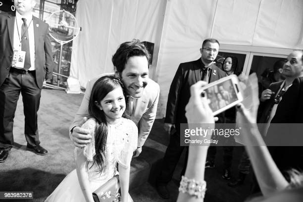 Actors Abby Ryder Fortson and Paul Rudd attend the Los Angeles Global Premiere for Marvel Studios' 'AntMan And The Wasp' at the El Capitan Theatre on...