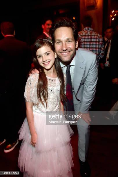 Actors Abby Ryder Fortson and Paul Rudd attend the Los Angeles Global Premiere for Marvel Studios' AntMan And The Wasp at the El Capitan Theatre on...