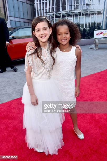 Actors Abby Ryder Fortson and RaeLynn Bratten attend the Los Angeles Global Premiere for Marvel Studios' 'AntMan And The Wasp' at the El Capitan...