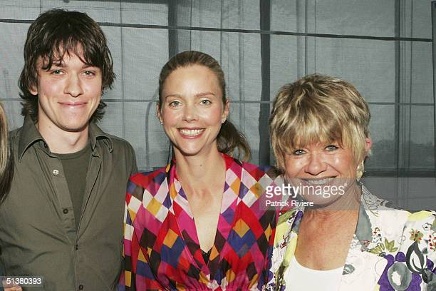 Actors Abe Forsythe and Sophie Lee pose with film critict Margaret Pomeranz at the 2004 AFI Awards Nominations at the Wharf Restaurant October 1 2004...