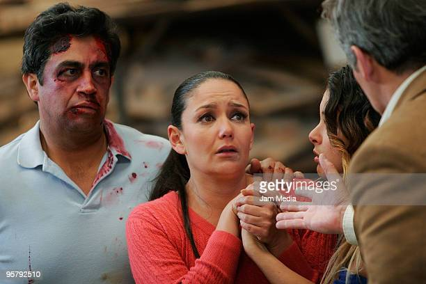 Actors Abel Fernando Maria Rebeca Alonso and Carla Carrillo during a shooting of 'Pobre Diabla' soap opera of Aztec TV at Ajusco on January 14 2010...