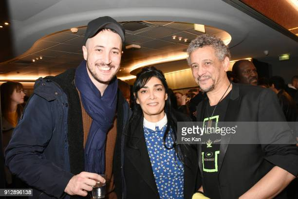 Actors Abel Jafri Fatima Adoum and Azedine Kasri attend 'Voyoucratie' premiere at Publicis Champs Elysees on January 31 2018 in Paris France