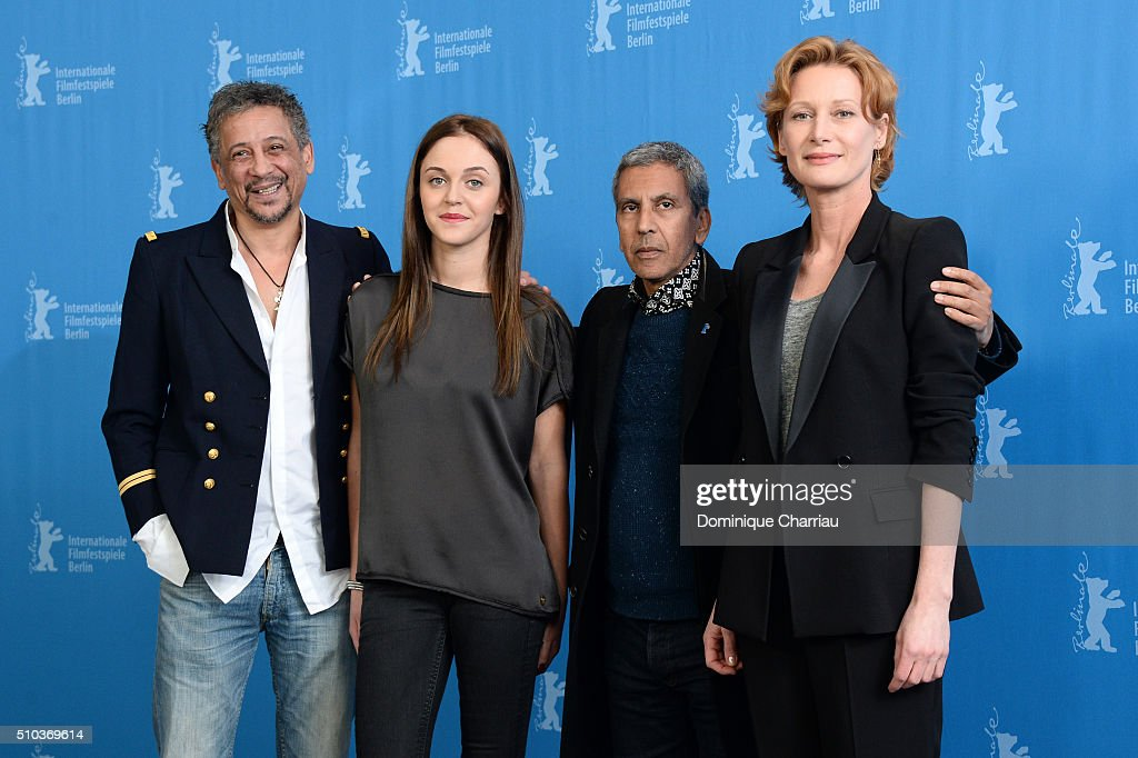 Actors Abel Jafri, Pauline Burlet, director Rachid Bouchareb and actress Astrid Whettnall attend the 'Road to Istanbul' (La Route d'Istanbul) photo call during the 66th Berlinale International Film Festival Berlin at Grand Hyatt Hotel on February 15, 2016 in Berlin, Germany.