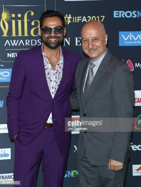 Actors Abhay Deol and Anupam Kher attend the 2017 International Indian Film Academy Festival at MetLife Stadium on July 14 2017 in East Rutherford...