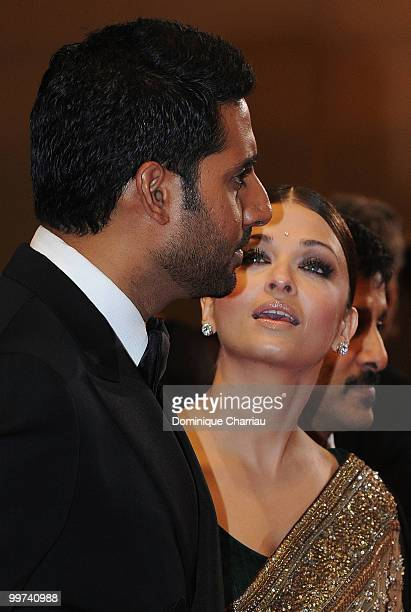Actors Abhishek Bachchan and Aishwarya Rai Bachchan attend the premiere of 'Outrage' held at the Palais des Festivals during the 63rd Annual...