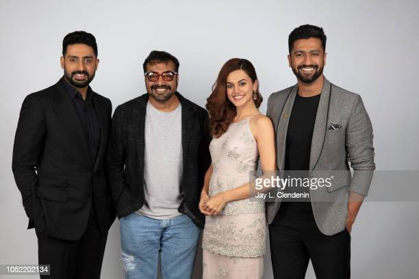 Actors Abhishek Bachchan director Anurag Kashyap Taapsee Pannu and Vicky Kaushall from 'Husband Material' are photographed for Los Angeles Times on...