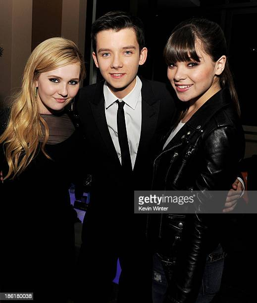 Actors Abigail Breslin Asa Butterfield and Hailee Steinfeld pose at the after party for the premiere of Summit Entertainment's Ender's Game at The...