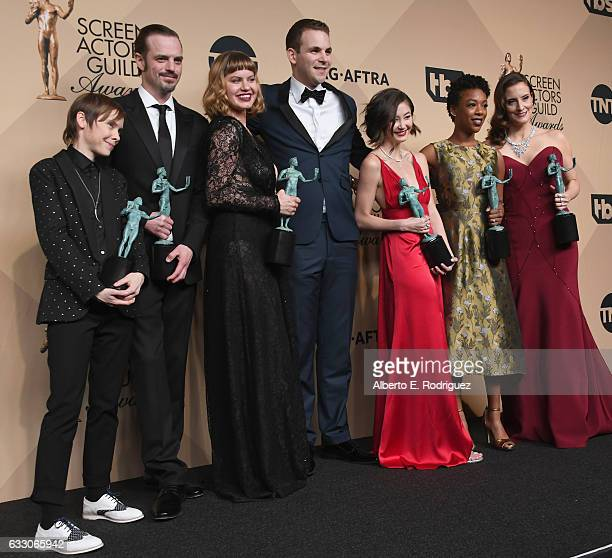 Actors Abigail Savage James McMenamin Emily Althaus Alan Aisenberg Kimiko Glenn Samira Wiley and Julie Lake cowinners of the Outstanding Performance...