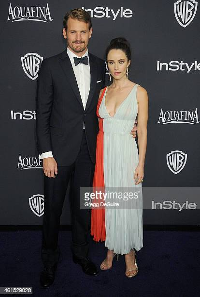 Actors Abigail Spencer and Josh Pence arrive at the 16th Annual Warner Bros And InStyle PostGolden Globe Party at The Beverly Hilton Hotel on January...