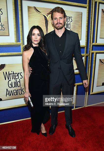 Actors Abigail Spencer and Josh Pence attend the 2015 Writers Guild Awards LA Ceremony at the Hyatt Regency Century Plaza on February 14 2015 in...