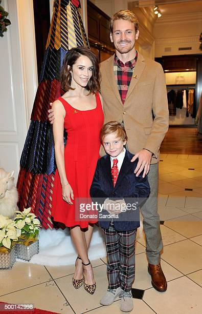 Actors Abigail Spencer and Josh Pence with Roman Pruett at the Brooks Brothers holiday party with St Jude Children's Research Hospital at Brooks...