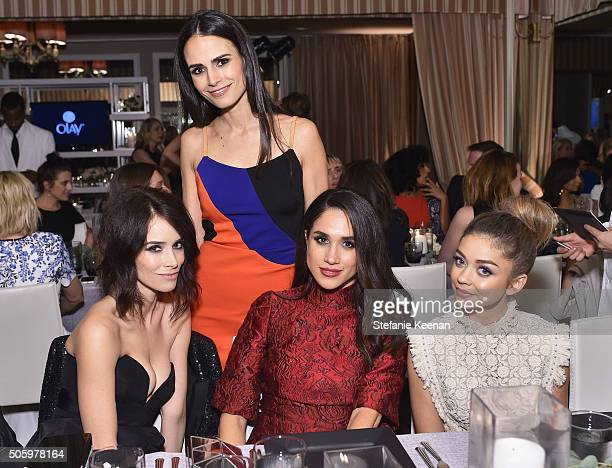 Actors Abigail Spencer Jordana Brewster Meghan Markle and Sarah Hyland attend ELLE's 6th Annual Women in Television Dinner Presented by Hearts on...