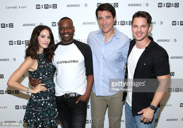 Actors Abigail Spencer Malcolm Barrett Goran Visnjic and Matt Lanter of 'Timeless' at 2017 WIRED Cafe at Comic Con presented by ATT Audience Network...