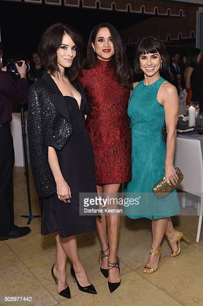 Actors Abigail Spencer Meghan Markle and Constance Zimmer attend ELLE's 6th Annual Women in Television Dinner Presented by Hearts on Fire Diamonds...