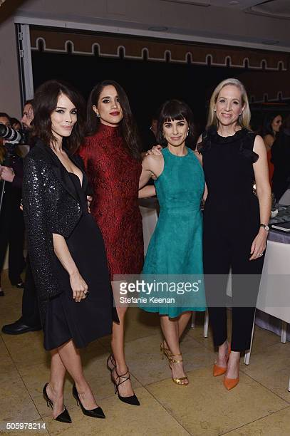Actors Abigail Spencer Meghan Markle Constance Zimmer and Betsy Beers attend ELLE's 6th Annual Women in Television Dinner Presented by Hearts on Fire...