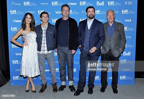 Actors Abigail Spencer Tye Sheridan director Philip Martin actors John Travolta Christopher Plummer and attend 'The Forger' Press Conference during...