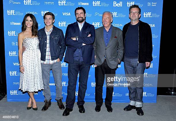 Actors Abigail Spencer Tye Sheridan John Travolta Christopher Plummer and director Philip Martin attend 'The Forger' Press Conference during the 2014...