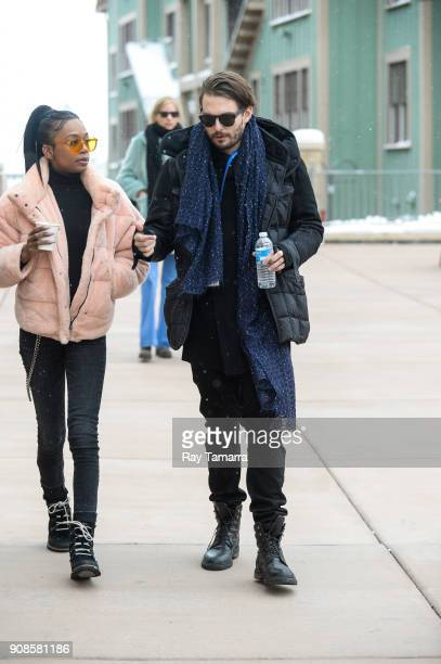 Actors Abra and Sam Levinson walk in Park City on January 21 2018 in Park City Utah