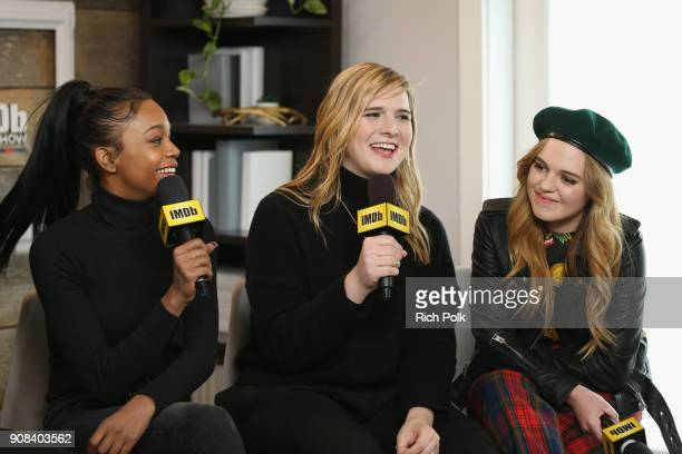 Actors Abra Hari Nef and Odessa Young of 'Assassination Nation' attend The IMDb Studio and The IMDb Show on Location at The Sundance Film Festival on...