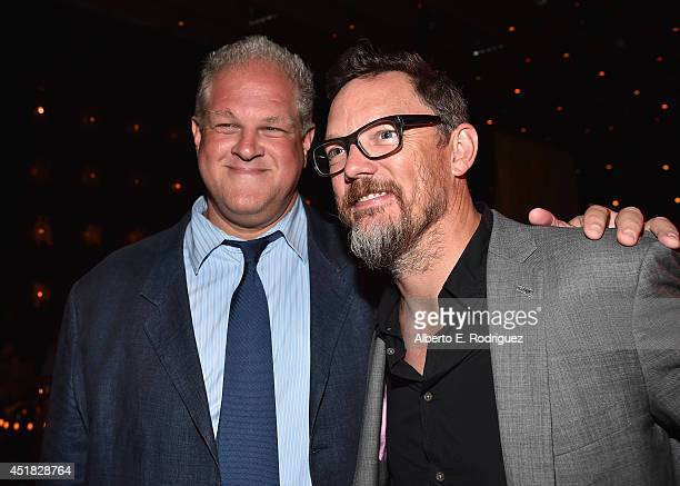 Actors Abraham Benrubi and Matthew Lillard attend the after party for the season premiere of FX's 'The Bridge' at the Pacific Design Center on July 7...