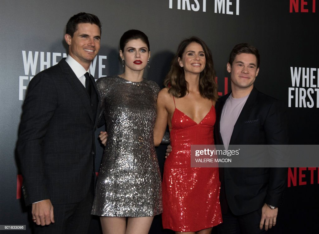 Actors Actor Robbie Amel, Alexandra Daddario, Shelley Hennig and Adam Devine attend the Los Angeles special screening of Netflix's 'When We First Met,' on February 20, 2018, in Hollywood, California. /