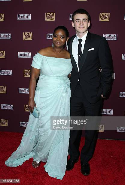 Actors Actors Charlie Rowe and Octavia Spencer attend the 21st Century Fox and Fox Searchlight Oscar Party at BOA Steakhouse on February 22 2015 in...