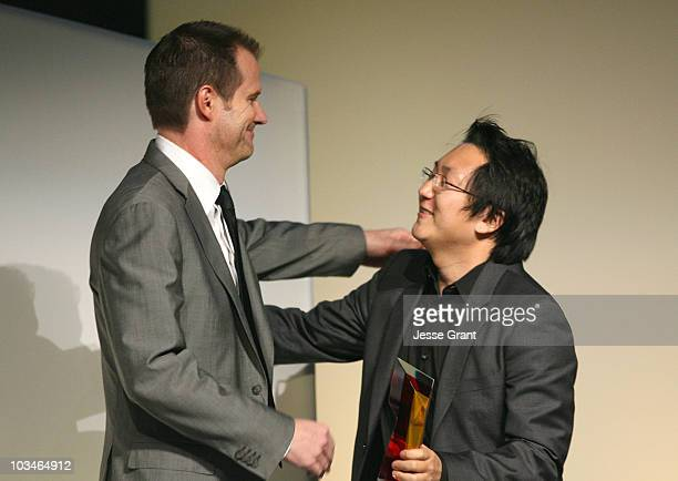 Actors Actors Jack Coleman and Masi Oka on stage at the 7th annual Hollywood Life Breakthrough of the Year Awards at the Music Box at the Fonda on...