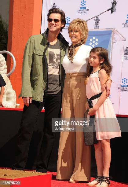 Actors Actors Jim Carrey Jane Fonda and granddaughter Viva Vadim attend actress Jane Fonda's Handprint/Footprint Ceremony during the 2013 TCM Classic...