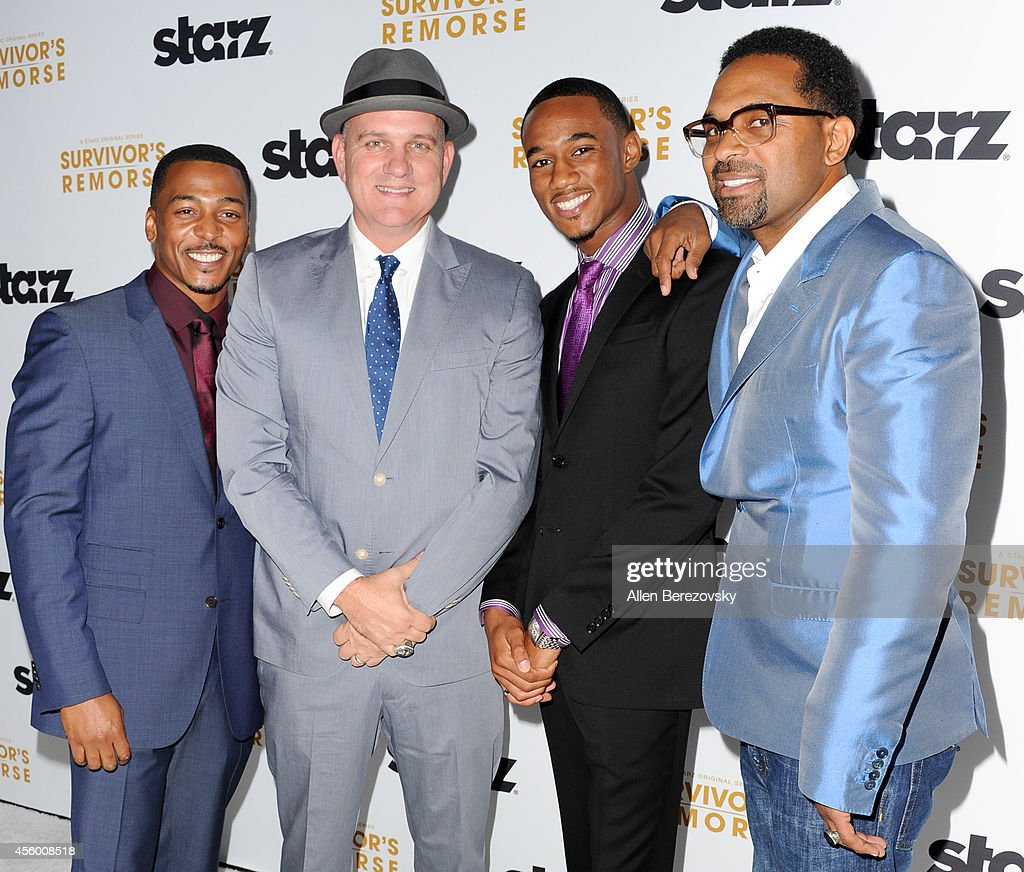 Actors (L-R) Actors RonReaco Lee, Mike O'Malley, Jessie T.Usher and Mike Epps attend the Los Angeles premiere of STARZ new series 'Survivor's Remorse' at Wallis Annenberg Center for the Performing Arts on September 23, 2014 in Beverly Hills, California.