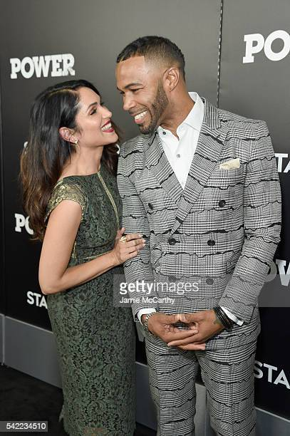 Actors Actress Lela Loren and Omari Hardwick attend STARZ 'Power' New York season three premiere at the SVA Theatre on June 22 2016 in New York City