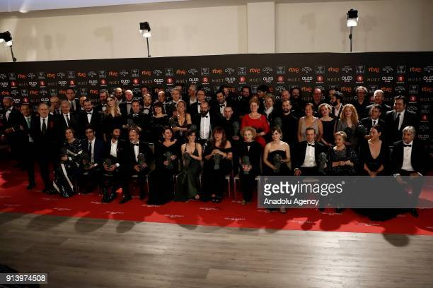 Actors actresses producers singers and directors pose for a photo after receiving their awards during the 32th edition of the Goya Awards ceremony in...