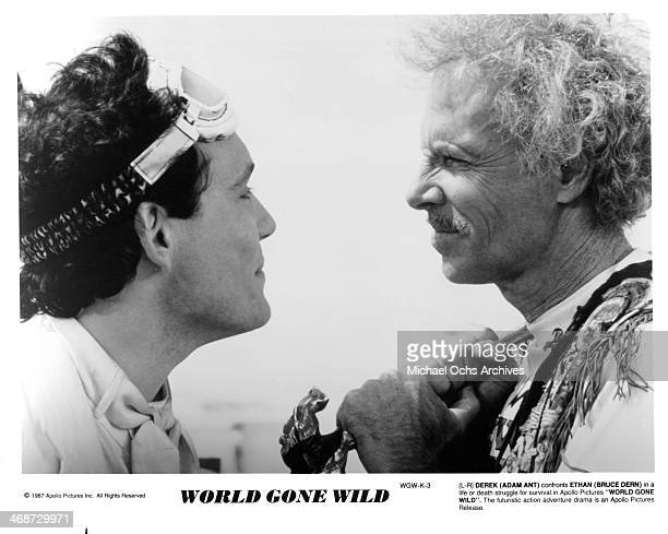 Actors Adam Ant and Bruce Dern on set of the movie World Gone Wild circa 1988