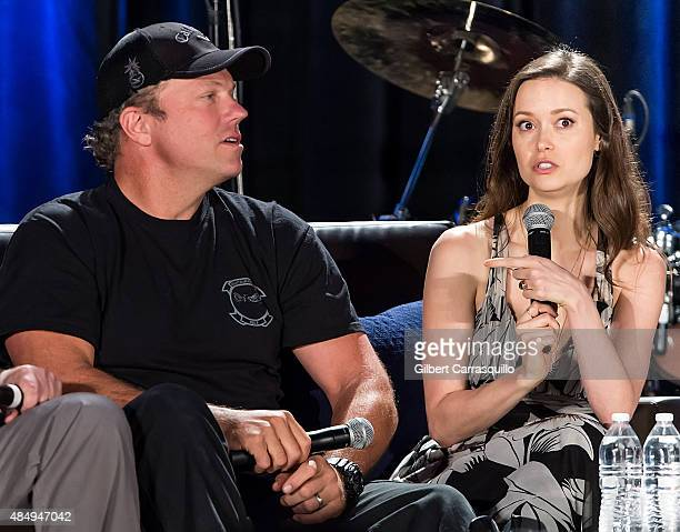 Actors Adam Baldwin and Summer Glau attend Wizard World Comic Con Chicago 2015 Day 3 at Donald E Stephens Convention Center on August 22 2015 in...