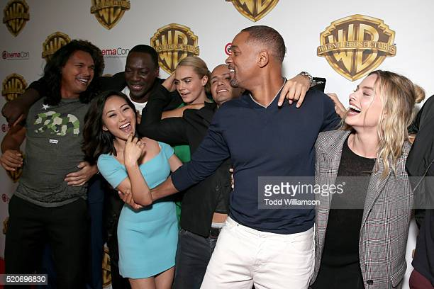 Actors Adam Beach Adewale AkinnuoyeAgbaje Karen Fukuhara Jay Hernandez Will Smith and Margot Robbie of 'Suicide Squad' attend CinemaCon 2016 The...